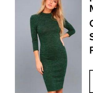 Modern Marl Dark Green Bodycon Midi Dress NWT